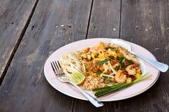 Stir fried Thai noodle with shrimp, Pad Thai Royalty Free Stock Images