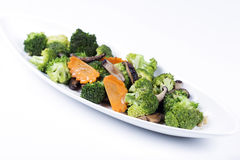 Stir fried Three vegetables (broccoli, mushroom, carrot) Stock Images