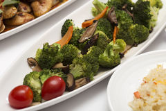 Stir fried Three vegetables (broccoli, mushroom, carrot) Royalty Free Stock Photo