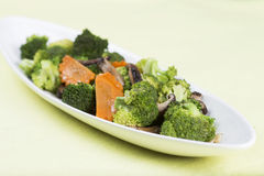 Stir fried Three vegetables (broccoli, mushroom, carrot) Royalty Free Stock Image