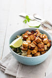 Stir fried tofu in a bowl Royalty Free Stock Image