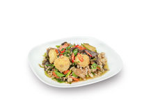 Stir fried tofu with minced pork on white, clipping path Royalty Free Stock Photo
