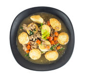 Stir fried tofu with pork and carrot on white Royalty Free Stock Photography