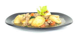 Stir fried tofu with pork and carrot on white Stock Photo