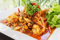Stir fried Tom Yum seafood. Thai food - Stir fried Tom Yum seafood Stock Photos
