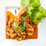 Stir fried Tom Yum seafood. Thai food - Stir fried Tom Yum seafood Royalty Free Stock Image