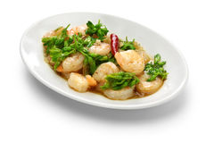 Stir-fried Tonkin jasmin flowers and shrimp Royalty Free Stock Photography