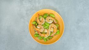 Stir-Fried Twisted Cluster Bean with Shrimps Stock Images