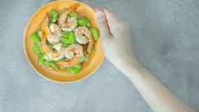 Stir-Fried Twisted Cluster Bean with Shrimps Stock Image
