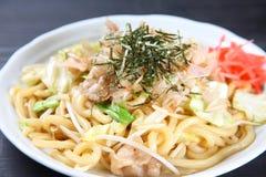 Stir Fried Udon Noodles Stock Images