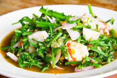 Stir-fried vegetables. Stir in shrimp, vegetables, delicious Thai Royalty Free Stock Photography