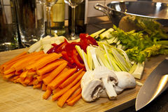 Stir-fried vegetables. Fresh vegetables, ready cut short before cooking Stock Photo