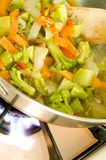 Stir fried vegetables on the range. Broccoli stir fry with carrots onions red peppers and other vegetables royalty free stock photography