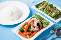 Stir fried vegetables with shrimp. In a white dish Royalty Free Stock Photography