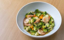 Stir fried vegetables with shrimps. Close up food. Stock Image