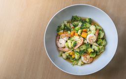 Stir fried vegetables with shrimps Stock Photography