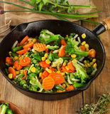 Stir fried vegetables in   skillet . Stock Images