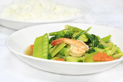 Stir-fried vegetables. Stir fried vegetables in white plate stock images