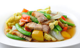 Stir fried vegetables on white plate Stock Photography