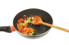 Stir fried vegetables in a wok stock photos