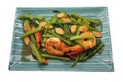 Stir Fried Water Spinach / Morning Glory with shrimp / seafood, Thai food Royalty Free Stock Image