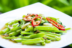 Stir Fried Water Spinach, Thai food Stock Photography