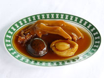 Stir fried whole abalone goose webs and black mushroom Stock Image