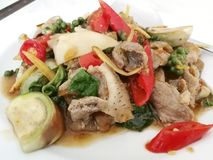 Stir Fried Wild Boar with Red Chili royalty free stock photography
