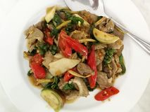 Stir Fried Wild Boar with Red Chili royalty free stock images