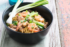 Stir fried yellow noodle mee pad hokkian phuket Stock Photo
