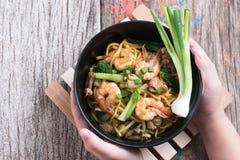 Stir fried yellow noodle mee pad hokkian phuket Royalty Free Stock Images