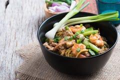 Stir fried yellow noodle mee pad hokkian phuket Royalty Free Stock Photography