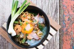 Stir fried yellow noodle mee pad hokkian phuket Royalty Free Stock Photo
