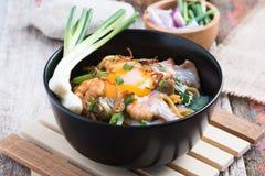 Stir fried yellow noodle mee pad hokkian phuket Stock Image