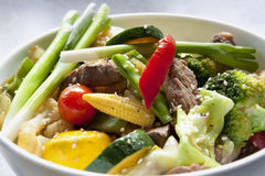 Stir Fry. With beef and fresh vegetables.  A colorful, healthy meal Royalty Free Stock Images