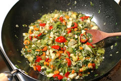 Stir Fry. Being Cooked in a Wok royalty free stock image