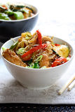 Stir Fry. Chicken or pork stir fry with vegetables and rice noodles stock image