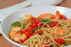 Stir Fry. Shrimp Stir Fry with Vegetables and Pasta Stock Photography