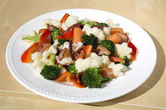 Stir-fry Bacon And Mixed Vegetables Stock Photography