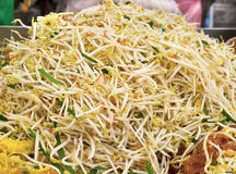 Stir fry bean sprout in pan Royalty Free Stock Photography