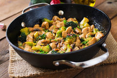 Stir fry chicken with broccoli and mushrooms. Royalty Free Stock Photos