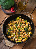 Stir fry chicken with broccoli and mushrooms. Royalty Free Stock Photography