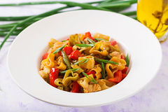 Stir Fry from chicken fillet, green beans and paprika with pasta Royalty Free Stock Photo