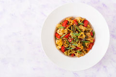 Stir Fry from chicken fillet, green beans and paprika with pasta Royalty Free Stock Photography