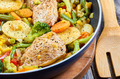 Stir fry chicken fillet Royalty Free Stock Photography