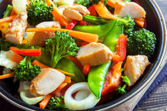 Stir fry with chicken. Healthy stir fried vegetables with chicken on pan close up Royalty Free Stock Photography