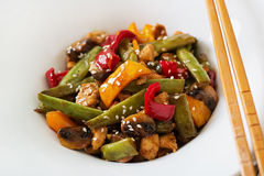 Stir fry with chicken, mushrooms, green beans Royalty Free Stock Photos