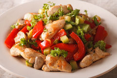 Stir Fry Chicken with mushrooms, peppers and zucchini closeup. h Royalty Free Stock Photography