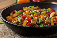 Stir fry chicken, peppers and green beans. Royalty Free Stock Photo