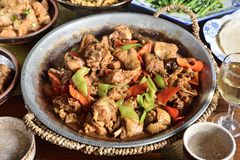 Stir fry chicken. Stir fry with chicken, red peppers and chinese vegetables - Chinese food Stock Images